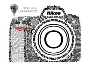 Câmera digital letras e marca